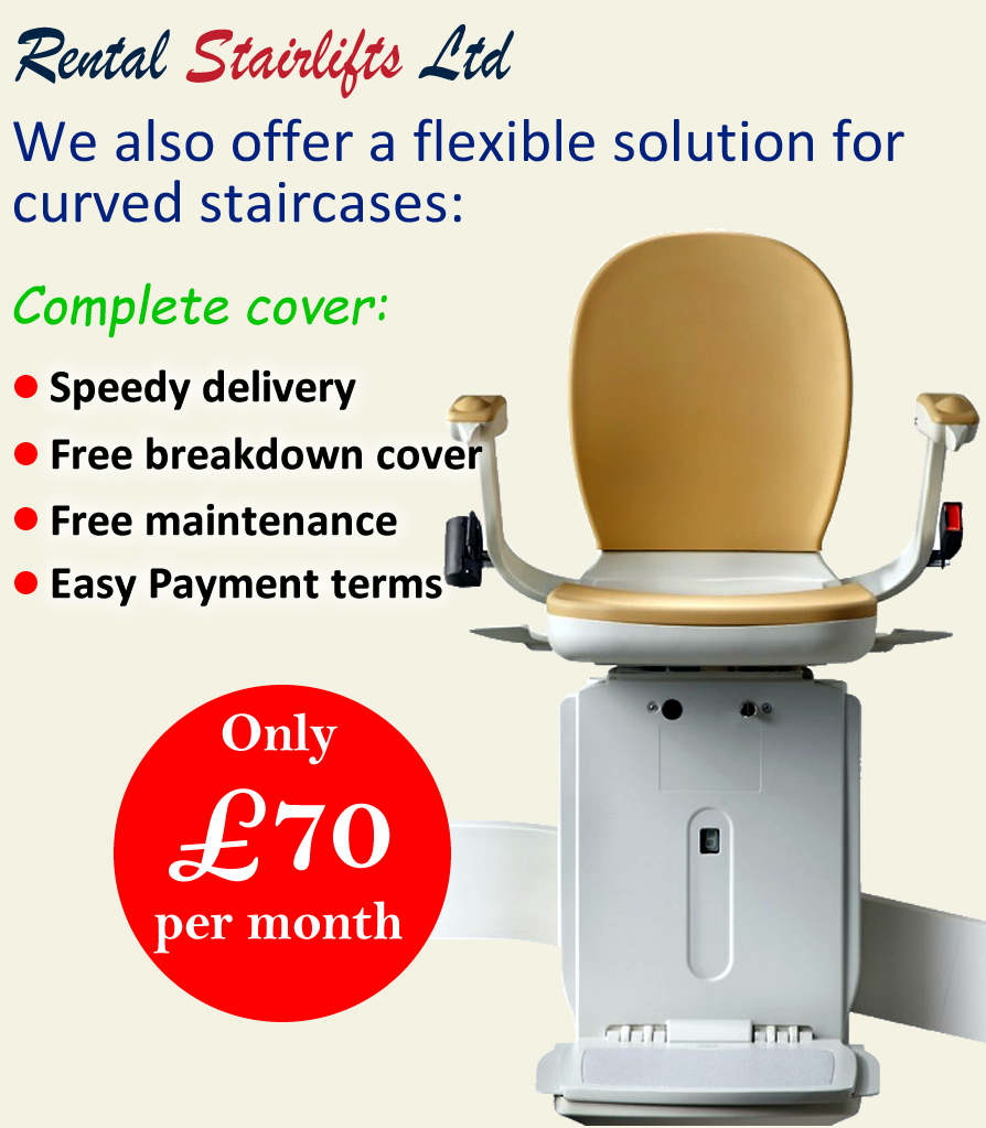 new curved rental stairlift